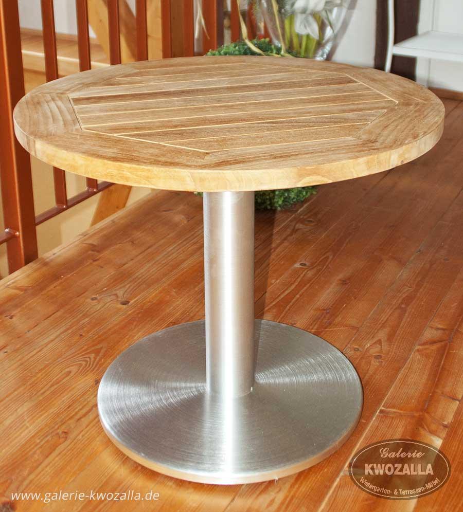 High Quality Holztisch_mit_Dekoration · Runder Teak Edelstahl Beistell Tisch ...