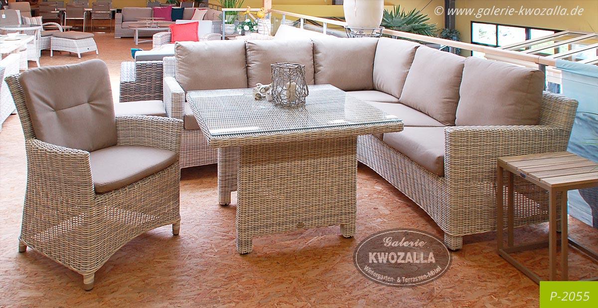 ... Wetterfeste Ecklounge Aus Polyrattan, Sitzgruppe + Tisch Für Den  Garten, Balkon, Terrasse
