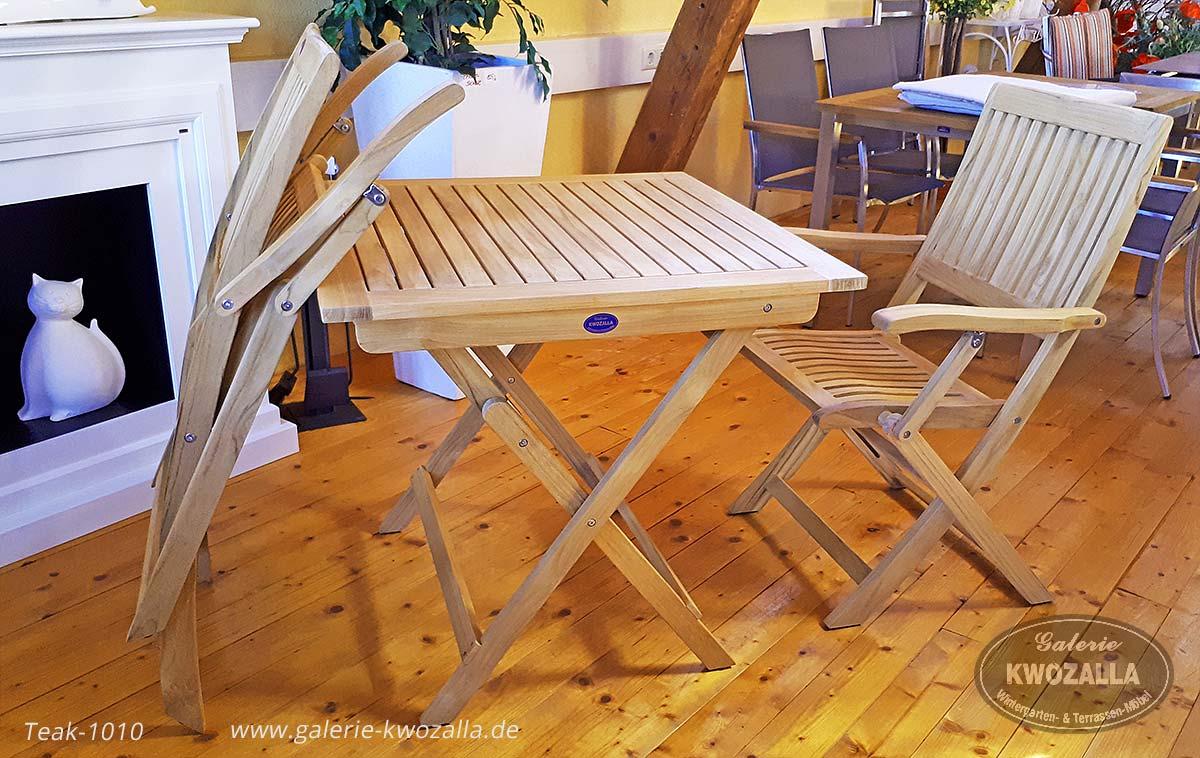 Attraktiv ... Teakholz Gartenmöbel   Platzsparende Balkonmöbel Aus Teak   Stühle Und  Tisch Klappbar   2er Set